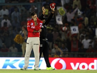 Kings XI Punjab player Glenn Maxwell reacts after being hit for a six. BCCI
