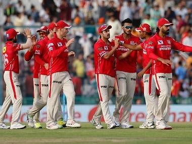 Kings XI Punjab players celebrate a wicket against Rising Pune Supergiants. BCCI