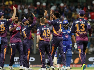 Rising Pune Supergiants players celebrates the wicket of Mumbai Indians captain Rohit Sharma. Sportzpics