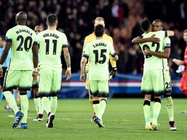 Manchester City players celebrate after their Champions League quarter-final tie against Paris Saint Germain (PSG). AFP