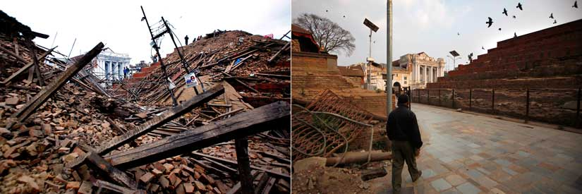 Durbar Square in 2015 (left) and 2016 (right). AP