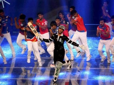 Ranveer Singh performs during the opening ceremony of IPL. PTI