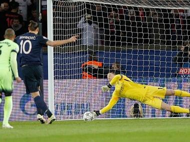 Zlatan Ibrahimovic has his penalty saved by Manchester City goalkeeper Joe Hart. AP