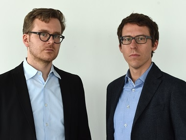 "German journalists Frederik Obermaier (L) and Bastian Obermayer (R) co-authors of the socalled ""Panama Papers"" investigation. AFP"