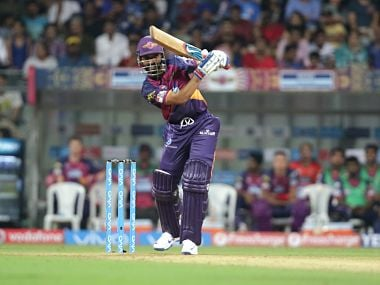 Ajinkya Rahane of Pune Supergiants in action against Mumbai Indians at the Wankhede Stadium. Sportzpics