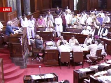 Rajya Sabha members caused an uproar.