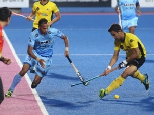 SV Sunil in action against Malaysia at the semi-final clash in the Sultan Azlan Shah Cup hockey tournament in Ipoh on Friday.