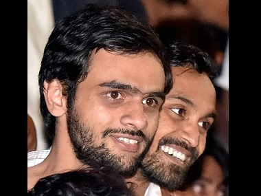 JNU students Umar Khalid (left) and Anirban Bhattacharya. File photo. PTI