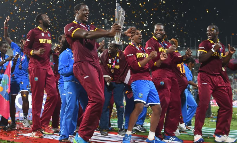 West Indies celebrated in style, dancing to Bravo's 'Champion'.