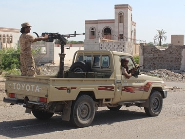 Forces loyal to the Saudi-backed Yemeni president patrol a street in the city of Lahj on Sunday during an operation to drive Al-Qaeda fighters out of the southern provinces.  / AFP