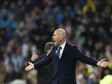 Real Madrid's French coach Zinedine Zidane shouts. AFP