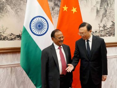 National Security Adviser Ajit Doval with China's State Councillor, Yang Jiechi at the 19th India-China Boundary talks in Beijing on Wednesday. PTI