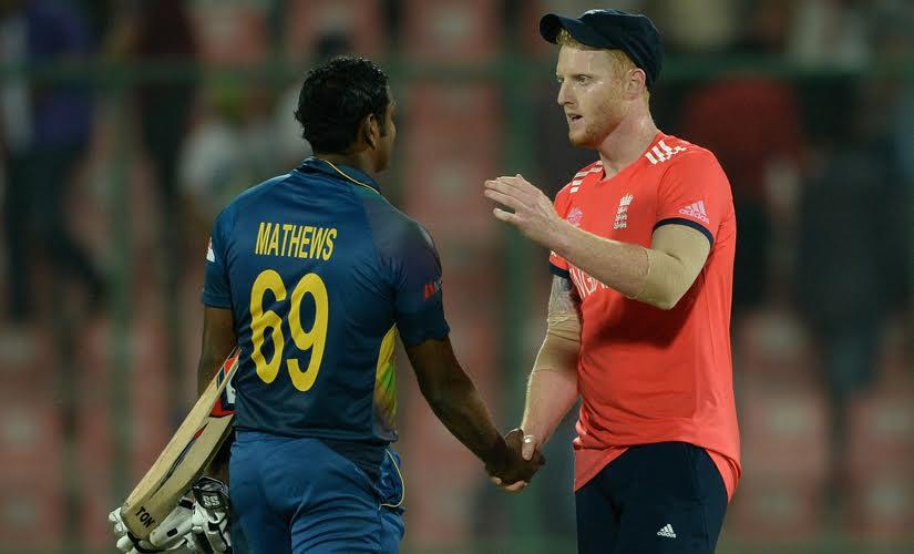 Ben Stokes of England shakes hands with Angelo Mathews Sri Lanka at Feroz Shah Kotla Ground. Solaris