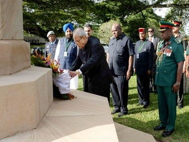 President Pranab Mukherjee laying a wreath at Bomana War Cemetery, Port Moresby, Papua New Guinea. PTI.