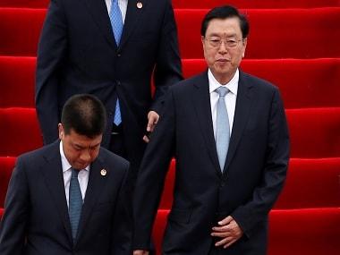 Zhang Dejiang arrives for a three-day visit in Hong Kong. Reuters