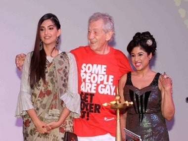 Hollywood actor Sir Ian McKellen with Bollywood actor Sonam Kapoor and RJ Malishka during the opening ceremony of the 7th Kashish Mumbai International Queer Film Festival in Mumbai, India on May 25, 2016. (Gautam Salvi/SOLARIS IMAGES)