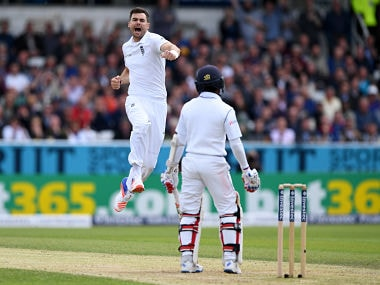 James Anderson celebrates after dismissing Sri Lanka batsman Kaushal Silva. Getty