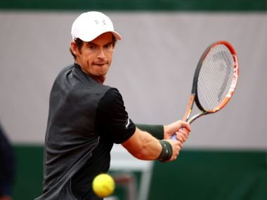 Andy Murray of Great Britain plays a backhand at the French Open. Getty Images