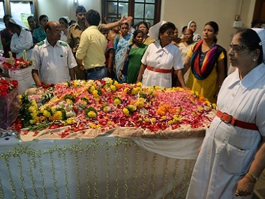 File phot of Nurses and hospital staff gathering to pay their respects to Aruna Shanbaug after she passed away. AFP