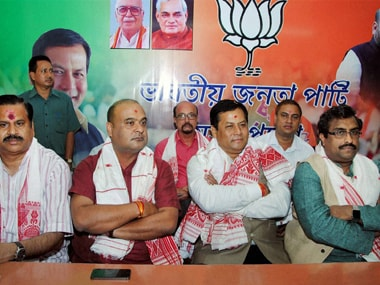 Assam Chief Minister Sarbananda Sonowal along with senior BJP leaders Ram Madhav (right), Mahendra Singh and Himanta Biswa Sarma. PTI