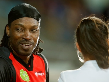 Chris Gayle during the TV interview with Mel McLaughlin in the recently-concluded Big Bash League. Getty Images