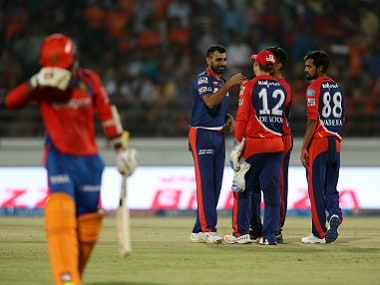 Delhi Daredevils players celebrate a wicket against Gujarat Lions. BCCI