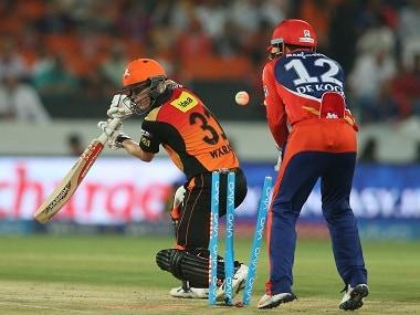 Sunrisers Hyderabad captain David Warner is dismissed against Delhi Daredevils. BCCI