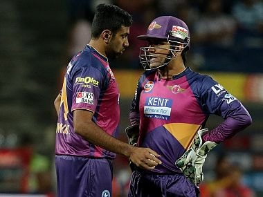File picture of Ravichandran Ashwin (L) and MS Dhoni. BCCI