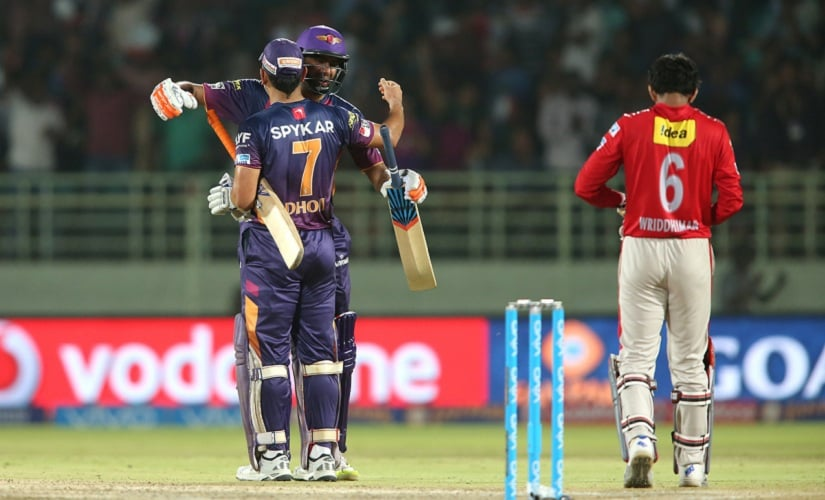 Rising Pune Supergiants captain MS Dhoni and Ravichandran Ashwin celebrate their last ball win over Kings XI Punjab. BCCI