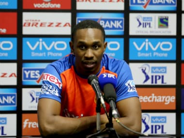 Dwayne Bravo addressing the media following Gujarat's five-wicket defeat to Sunrisers Hyderabad. Sportzpics/IPL
