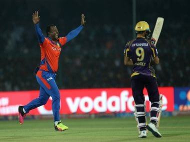 Dwayne Smith celebrates the wicket of Manish Pandey. BCCI