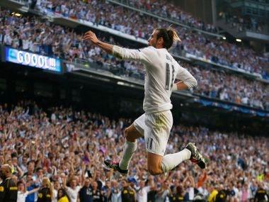 Real Madrid's Gareth Bale celebrates his goal. AP