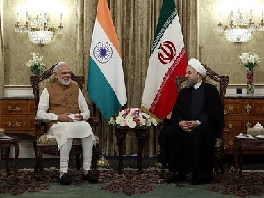 Indian Prime Minister Narendra Modi (L) meets with Iranian President Hassan Rouhani (R) in Tehran. Getty Images