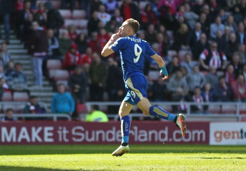 Jamie Vardy celebrates after scoring a goal. Reuters