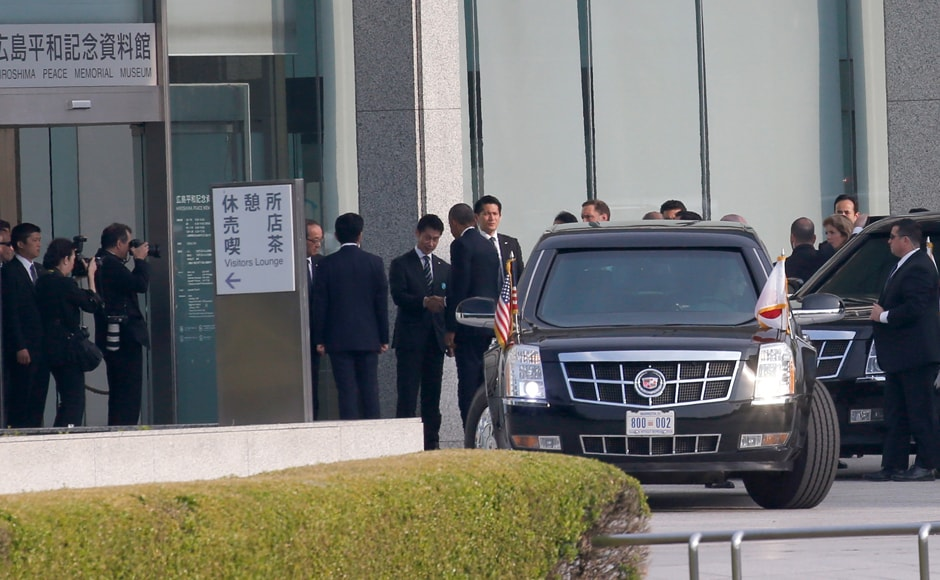 Obama, center, is greeted upon arrival at Hiroshima Peace Memorial Museum in Hiroshima. Obama's visit is a moment 70 years in the making. Other American presidents considered coming, but the politics were still too sensitive, the emotions too raw. Jimmy Carter visited as a former president in 1984.AP