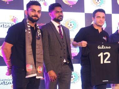 Virat Kohli unveils marquee signing Falcao. Image Credit: Premier Futsal