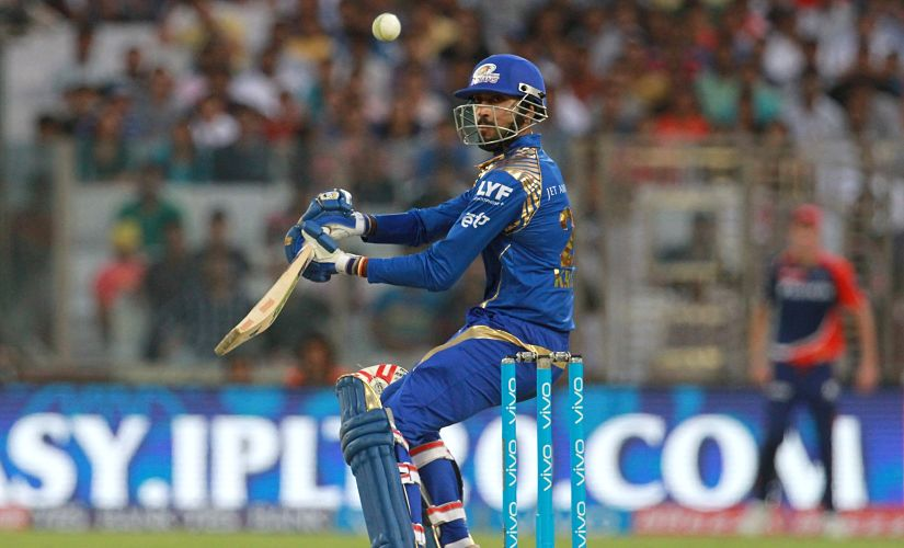 Mumbai Indians player Krunal Pandya plays a shot during the match against Delhi Daredevils. SportzPics