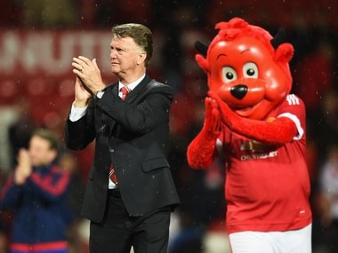 Manchester United manager Louis van Gaal applauding the fans after the Bournemouth game. Getty