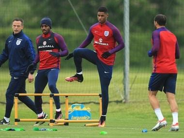 File image of Marcus Rashford in England training. Getty