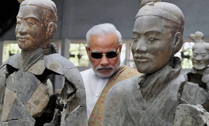 An image from Narendra Modi's visit to Xi'an, the home of the Terracotta Army, in China. PTI