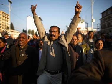 Protests over Nepal's constitution. Reuters