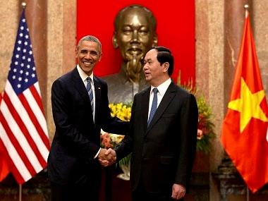 Barack Obama with his Vietnamese counterpart President Tran Dai Quang. AP.