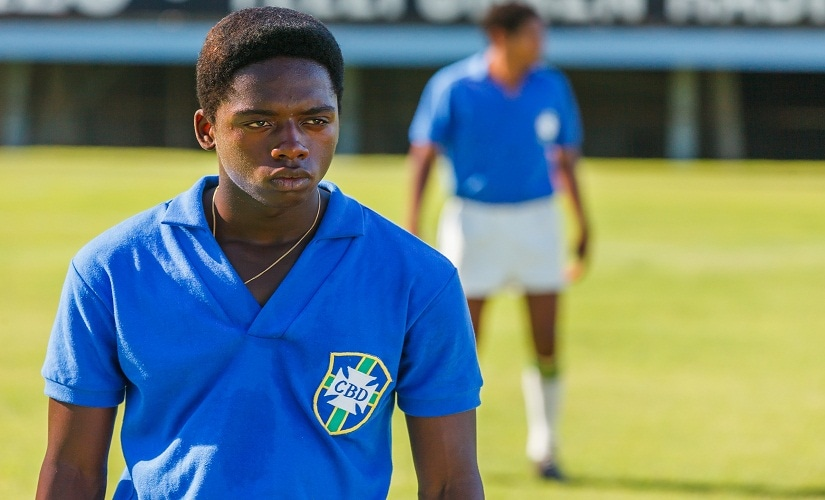 Kevin de Paula as the 15-17 year-old Pelé. Seen here is a scene depicting the Brazil vs Sweden 1958 World Cup final