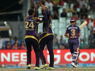 Kolkata Knight Riders players celebrate the wicket of Ajinkya Rahane of Rising Pune Supergiants. BCCI