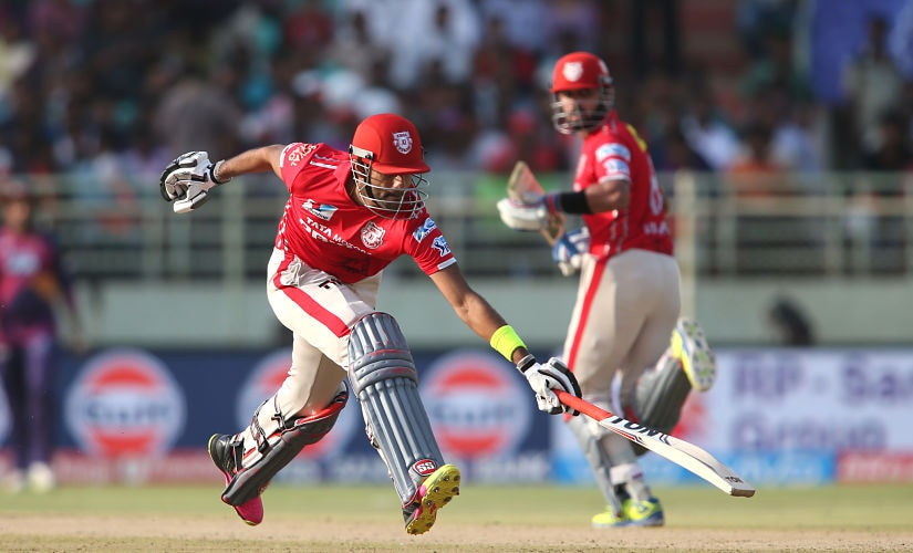 Gurkeerat Mann Singh of Kings XI Punjab scrambles to make his ground during match 53 of the Vivo IPL 2016 (Indian Premier League) between Rising Pune Supergiants and the Kings XI Punjab held at the ACA-VDCA Stadium, Visakhapatnam on the 21st May 2016 Photo by Shaun Roy / IPL/ SPORTZPICS