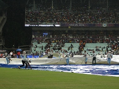 The rain covers come on at the Eden Gardens. BCCI