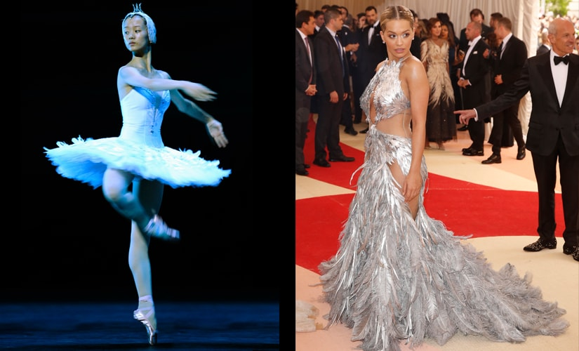 Rita Ora could have enacted Swan Lake in that feathery gown