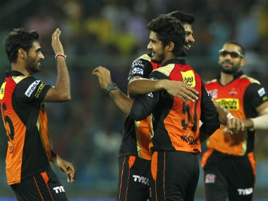 Sunrisers Hyderabad players celebrate a wicket. BCCI