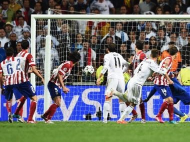 File photo of Sergio Ramos of Real Madrid scoring their second goal during the UEFA Champions League Final. Getty
