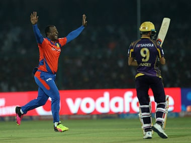 Dwayne Smith of celebrates the wicket of Manish Pandey. BCCI